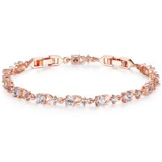 BAMOER 6 Colors Luxury 18K Rose Gold Plated Chain Bracelet For Women Ladies Shining AAA Cubic Zircon Crystal Jewelry JIB013