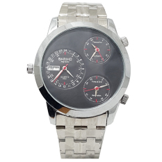 Bariho BA0075 Triple Time Day Date Jam Tangan Pria Strap Stainless Steel Silver Hitam Tripletime Day Date