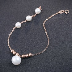 Beautiful Korean Wave Brand Classical Sweet Design Link Chain Bracelets Watches Women's Fashion Accessories Luxury Color Crystal Plated Rose Gold Jewelry Silver Casual Beauty Gifts Case Slim Casual Summer, Beautiful Pearl Silver Bracelet, Very Cute