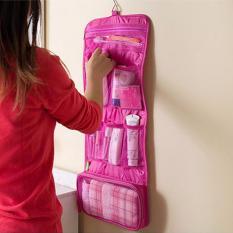 Beautylover Hanging Toiletries Bag Organizer Tas Kosmetik Travel Bag Tas Peralatan Mandi - Pink