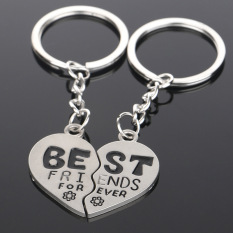 BEST FRIEND FOREVER Flower Couple Heart Keychains Friendship Keyrings Keyfobs(Int: One size) - intl