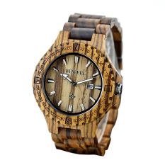 BEWELL High Quality Lightweight Unique Wood Simple Luminous Wristwatch Trendy Analog Quartz Men Watch With Calendar Zebrano Wood (Intl)