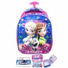 BGC 5 Dimensi Frozen Fever Elsa Anna Flower IMPORT Tas Troley Anak Sekolah TK + Lunch