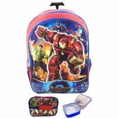 BGC Avenger Hulk Buster Captain America Iron Man 3D Tas Troley Sekolah Anak SD + Lunch