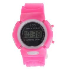 Bigskyie Cowok Cewek Siswa Waktu Digital Elektronik LCD Olahraga Pergelangan Tangan Perhiasan Berwarna Merah Muda