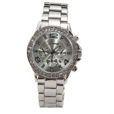 Bigskyie Geneva Date Quartz Wrist Watch Female Luxury Crystal Lady Ladies Watch Silver
