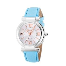 Bigskyie Geneva Women Girl Roman Numerals Leather Band Quartz Wrist Watch Bracelet Sky BlueFree Shipping