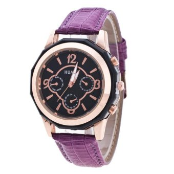 Bigskyie Luxury Brand Women Watches Leather Band Analog Quartz Wrist Watch Purple Free Shipping
