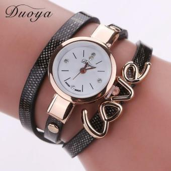 Bigskyie Quartz Watch Women Love Bracelet Wristwatch Fashion Casual Watches Women Style Black Free Shipping
