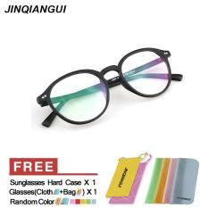 Bingkai kacamata Fashion Retro Vintage kacamata bulat hitam bingkai kacamata Frame plastik polos untuk miopia pria