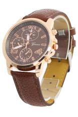 Bluelans Men's Women's Faux Leather Analog Quartz Dress Wrist Watch Brown