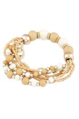 Bluelans Bohemian Style Beads Multi-layered Bracelet (Beige)