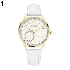 Bluelans® GAIETY Lady Girl Simple Casual Faux Leather Strap Round Dial Quartz Fashion Wrist Watch (White) - intl