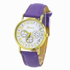 Bluelans Geneva Women's 3 Sub-dial Faux Leather Arabic Number Analog Quartz Watch Purple (Intl)