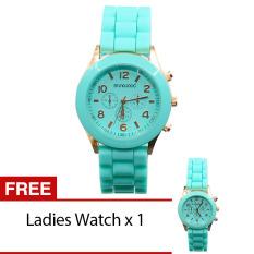 Bluelans Geneva Lover Women's Men's Silicone Jelly Gel Quartz Analog Wrist Watch 1 Pair Mint Green (Intl)