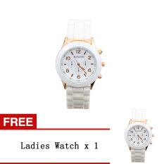 Bluelans Lover Women's Men's Silicone Jelly Gel Quartz Analog Wrist Watch White [Buy 1 Get 1 Free]
