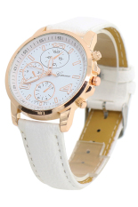 Bluelans Men's Women's Faux Leather Analog Quartz Dress Wrist Watch White