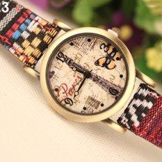 Bluelans Retro Women's Faux Leather Denim Strap Analog Quartz Watch (Intl)
