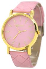 Sanwood Geneva Men's Women's Checkers Faux Leather Quartz Wrist Watch Pink