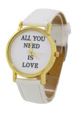Sanwood Women's Men's Faux Leather Dial Analog Quartz Wrist Watch White