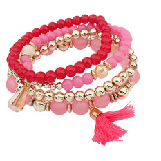 Bluelans Women Ethnic Multilayer Resin Beads Tassels Cuff Bracelets Jewelry 4Pcs / Set Pink