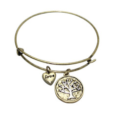 Bluelans Women Jewelry Love Heart Tree Of Life Pendant Bracelet Charm Bangle Antique Gold