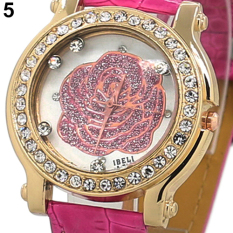 Bluelans Women Rose Gold Case Crystal Analog Leather Quartz Watch Rose-Red (Intl)