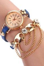 Sanwood Women's Bohemia Rhinestone Alloy Faux Leather Wrap Chain Wrist Watch Blue