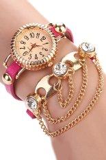 Sanwood Women's Bohemia Rhinestone Alloy Faux Leather Wrap Chain Wrist Watch Rose-Red