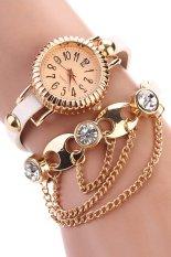 Sanwood Women's Bohemia Rhinestone Alloy Faux Leather Wrap Chain Wrist Watch White