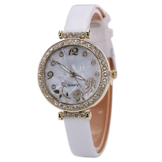 Bluelans Women's Flower Rhinestone Faux Leather Strap Quartz Wristwatch White (Intl)