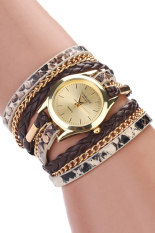 Sanwood Women's Leopard Wrap Braided Faux Leather Analog Quartz Wrist Watch Brown