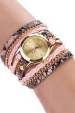 Sanwood Women's Leopard Wrap Braided Faux Leather Analog Quartz Wrist Watch Pink