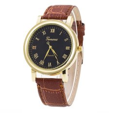 Bluelans Women's Men's Brown Band Black Dial Roman Number Faux Leather Quartz Watch (Intl)