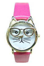 Bluelans Women's Men's Glasses Cat Faux Leather Analog Quartz Watch (Pink)