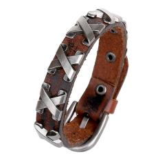 Bluelans Women's Men's Punk Leather Bangle Alloy Wristband Cuff Bracelet Jewelry Brown