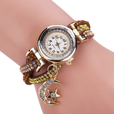Bluelans Women's Moon Star Rhinestone Faux Leather Wrap Bracelet Watch Coffee (Intl)
