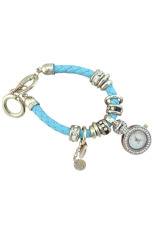Bluelans Women's Rhinestone Heart Faux Leather Bracelet Watch (Light Blue)