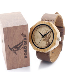 Bobobird Men's Polygonal Bamboo Wooden Watch Real Leather Strap Engraved Elk Head Natural Wood Watches - Intl