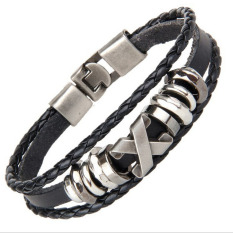 Hequ Men Punk Bracelet Jewelry Genuine Cow Leather Wrap Charm Stainless Steel x Letter Bracelet Style 1 (Black) (Intl)