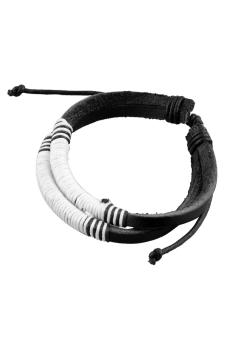 OEM Men Boy Black Leather White Weave Rope Cuff Bracelet Bangle Wrastband