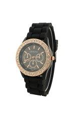 BODHI Women Geneva Silicone Golden Crystal Stone Quartz Jelly Wrist Watch (Black) (Intl)