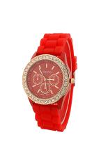 BODHI Women Geneva Silicone Golden Crystal Stone Quartz Jelly Wrist Watch (Red) (Intl)