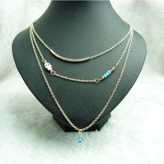 Bohemia Boho Hamsa Fatima Hand Evil Eye Bead Pendants Multilayer Necklace Clavicle Chain Jewelry For Women Girl - Intl