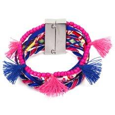Bohemian Women Braided Tassel Bracelet Royalblue
