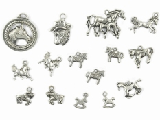 Generic 15pcs Alloy Silver Various Horse Shaped Charms Pendants Beads