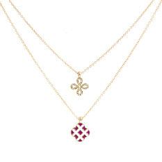 Fashion Crystal Multi-layer Four Leaf Clover Pendant Necklace Gold Chain