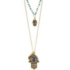 BolehDeals Fashion Woman Hamsa Hand Of Fatima Evil Eye Pendant Necklace Jewelry Gold