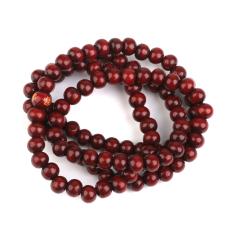 Wood 108pcs Prayer Beads Buddha Mala Buddhist Bracelet Chain Purplish Red