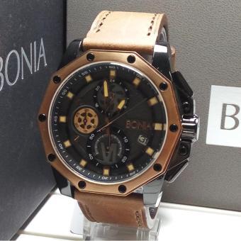Bonia Jam Tangan Pria Bonia BNB10222-1772C Black Rosegold Leather Brown